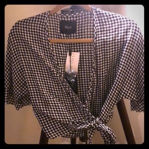 Rails black and white checked wrap shirt.